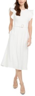 Calvin Klein Ruffle-Shoulder Fit & Flare Midi Dress