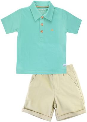 RuffleButts Solid Polo Shirt w/ Khaki Chino Shorts, Size 3M-5