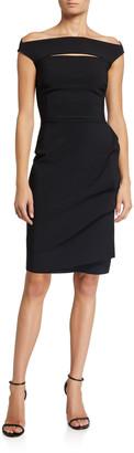 Chiara Boni Melania Off-the-Shoulder Cap-Sleeve Dress w/ Front Cutout