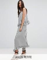 Asos Maxi Dress with Ruffle Detail & Grosgrain Straps in Mono Stripe