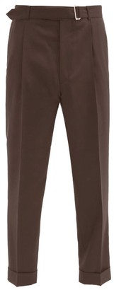 Officine Generale Hugo Belted Wool Straight-leg Trousers - Brown