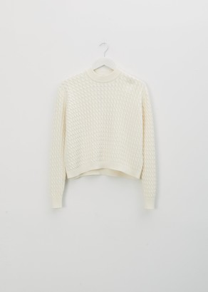 Sara Lanzi Cotton Cable Sweater White