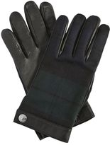 DSQUARED2 Check Wool Flannel & Leather Gloves