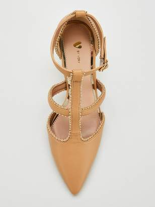 Very Dixie Studded Mid Heel Point Court Shoes - Nude