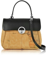 Alviero Martini Miss Geo Small Canvas and Leather Suoulder Bag