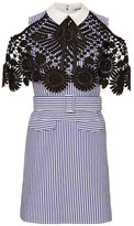 Self-Portrait Lace Overlay Pinstripe Mini Dress