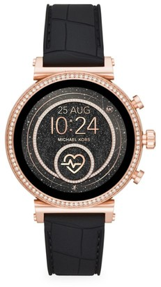 Michael Kors Access Sofie Heart Rate Rose Goldtone Stainless Steel & Embossed Silicone Strap Smartwatch