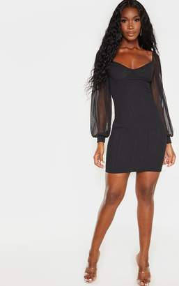 PrettyLittleThing Stone Ribbed Binding Detail Mesh Sleeve Bodycon Dress