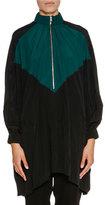 Marni Bicolor Half-Zip Oversized Jacket, Spherical Green