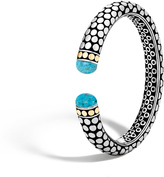 John Hardy Dot 11MM Kick Cuff in Silver and 18K Gold with Gemstone