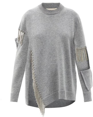 Christopher Kane Crystal-fringed Cutout Wool Sweater - Grey