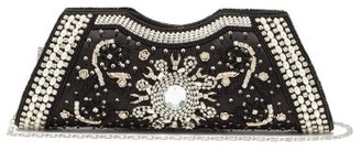 Shrimps Dallas Crystal, Faux-pearl And Beaded Satin Clutch - Black