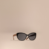 Burberry Check Detail Cat-eye Polarised Sunglasses