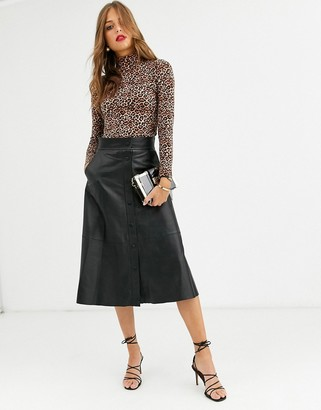 Lab Leather button front a-line midi skirt