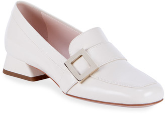 Roger Vivier Leather Buckle Slip-On Loafers