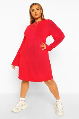 boohoo Plus Tiered Ruffle Smock Dress
