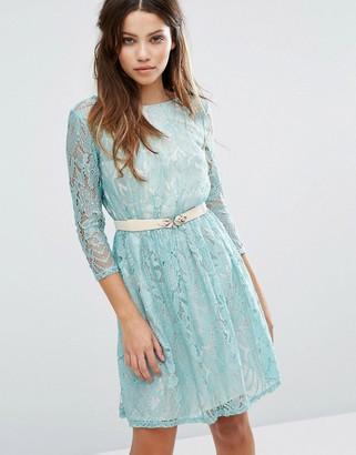 Little Mistress Long Sleeve Belted Lace Dress-Green