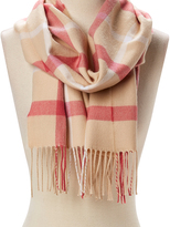 David & Young Beige Plaid Fringe-Trim Scarf
