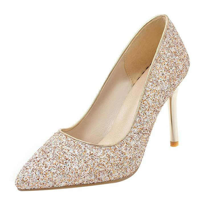 7e99ef36c69 Kikiva Womens Pointed Toe High Heel Stiletto Glitter Pumps Sparkly Bridal  Wedding Court Shoes