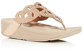 FitFlop Women's Elora Embellished Wedge Platform Thong Sandals