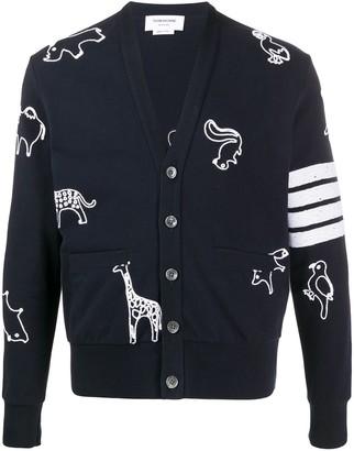 Thom Browne 4-Bar animal embroidered cardigan