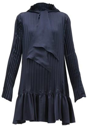 J.W.Anderson Pleated Neck-tie Satin Mini Dress - Womens - Navy