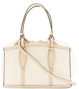Hunting Season The Basket Leather-trimmed Iraca-woven Bag - Beige