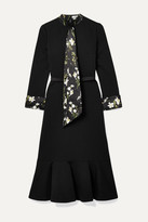 Erdem Hilma Belted Floral-print Satin-trimmed Stretch-ponte Midi Dress