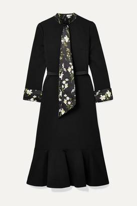Erdem Hilma Belted Floral-print Satin-trimmed Stretch-ponte Midi Dress - Black