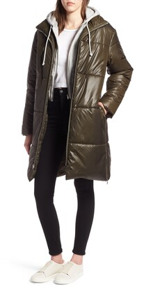 KENDALL + KYLIE Hooded Two-Fer Puffer Jacket