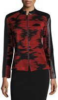 Ming Wang Faux-Leather Trim Knit Jacket, Red/Black