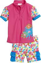 Playshoes Girl's 2 tlg. Bade-Set Blumenmeer mit UV-Schutz Tankini, Multicoloured (pink)
