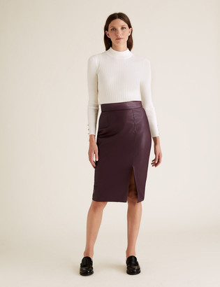 Marks and Spencer Faux Leather Side Split Pencil Skirt