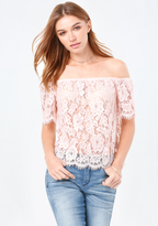 Bebe Sheer Lace Off Shoulder Top