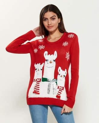Poof Apparel Scarfed Llama Long Sleeve Sweater