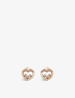 Chopard Happy Diamonds 18ct rose-gold and diamond earrings