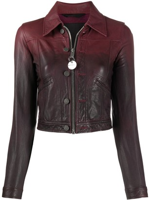 Diesel Cropped Gradient Print Leather Jacket