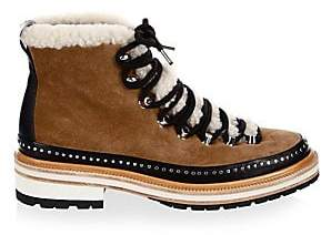 Rag & Bone Women's Compass Shearling-Trimmed Leather Hiking Boots