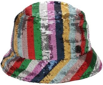 Maison Michel Souna Striped Sequins Bucket Hat