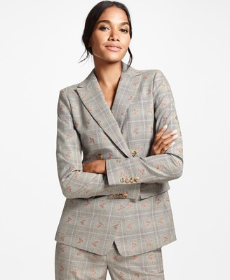 Brooks Brothers Petite Floral Glen Plaid Wool-Cotton Double-Breasted Jacket