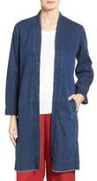 Eileen Fisher Petite Women's Denim Long Shawl Collar Jacket