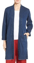 Eileen Fisher Women's Denim Long Shawl Collar Jacket