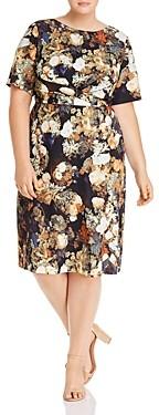 Adrianna Papell Plus Short-Sleeve Floral Print Dress