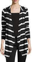 MICHAEL Michael Kors Cozy Drape Open-Front Cardigan, Black Pattern