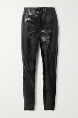 J Brand Edita Crinkled Coated Cotton-blend Leggings - Black