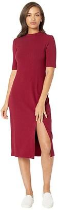 WAYF Gerry Slit Front Rib Knit Dress (Burgundy) Women's Dress