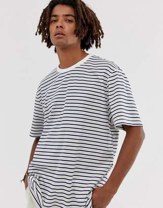 Brooklyn Supply Co. Brooklyn Supply Co drop shoulder oversized t-shirt with stripes in ecru-Beige