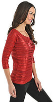 Bianca Nygard Novelty Metallic-Stripe Pullover Sweater