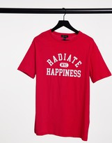 Thumbnail for your product : New Look oversized radiate happiness t-shirt in red