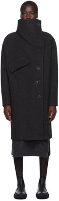 Acne Studios Black Boiled Wool A-Line Wrap Coat
